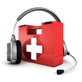 Headphones with madical first aid kit help concept Royalty Free Stock Images