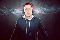 Headphones. Man with very cool Headphones Royalty Free Stock Images