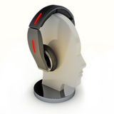 Headphones on a mannequin head. Abstract design Stock Photography