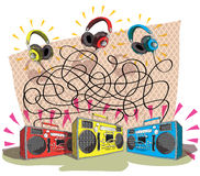 Headphones Maze Game Stock Images
