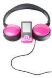 Headphones and media player Stock Images