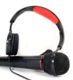 Headphones and mic stock photography