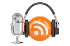 Headphones and mic with RSS logo podcast, 3D rendering. Headphones and mic with RSS logo podcast, 3D Royalty Free Stock Photography