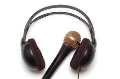 Headphones and microphone Stock Image