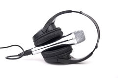 Headphones and microphone isolated. On white Stock Photography
