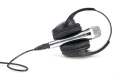 Headphones and microphone isolated Stock Photos