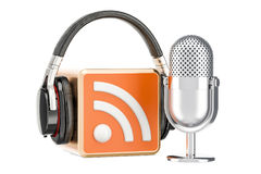 Headphones and microphone with RSS logo podcast, 3D rendering. Headphones and microphone with RSS logo podcast, 3D vector illustration