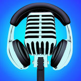 Headphones And Microphone Shows Recording Studio Or Entertainmen Royalty Free Stock Photo