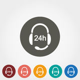 Headphones with Microphone. Support 24 hours. Support 24 hours. Headphones with Microphone. Icon for web and mobile application. Vector illustration on a button Royalty Free Stock Photography
