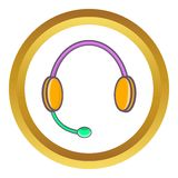 Headphones with microphone vector icon Stock Images