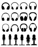 Headphones and microphones Royalty Free Stock Images