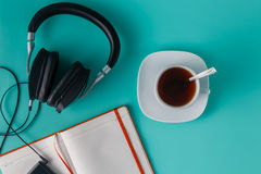 Headphones with misic player Stock Images