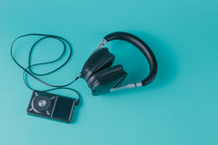 Headphones with misic player Royalty Free Stock Image