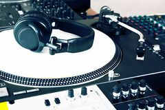 Headphones, mixer and turntable Royalty Free Stock Photos