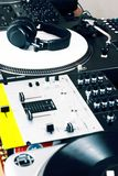 Headphones, mixer and turntable Stock Photos