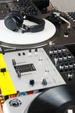 Headphones, mixer and turntable Royalty Free Stock Images