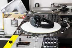 Headphones, mixer and turntable Stock Photo