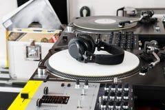 Headphones, mixer and turntable Stock Photo