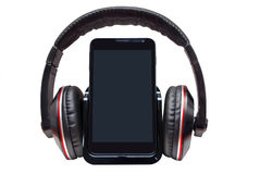 Headphones with mobile Stock Photography
