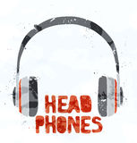 Headphones from multi-colored spots. Vector. Template design Royalty Free Stock Photos