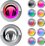Headphones multicolor round button. Headphones multicolor glossy round web buttons stock illustration