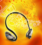 Headphones music. Music concept with headphones and musical notes Royalty Free Stock Images