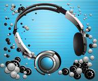 Headphones. Music background. Royalty Free Stock Photos