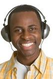 Headphones Music Boy. Smiling black headphones music boy Royalty Free Stock Photos