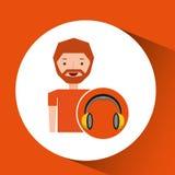 Headphones music cartoon guy beard Stock Photo