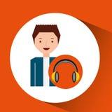 Headphones music cartoon guy happy Royalty Free Stock Photography