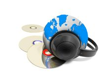 Headphones and Music CD with globe Stock Image