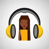 Headphones music character girl afro Stock Photos