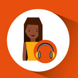 Headphones music character girl afro Royalty Free Stock Images