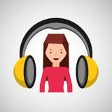 Headphones music character girl pink shirt Stock Photography