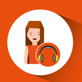 Headphones music character girl Royalty Free Stock Image