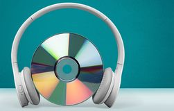 Headphones. Music dvd guitar telephone cd-rom jazz Royalty Free Stock Photo