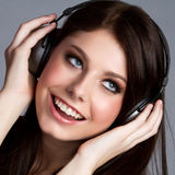 Headphones Music Girl Stock Image