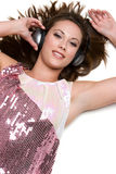 Headphones Music Girl Stock Photo