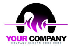 Headphones Music Logo. An illustration of a Dj logo representing headphones with sound waves hairstyle Stock Photo