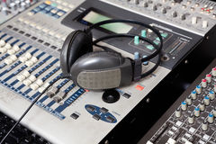 Headphones On Music Mixer In Recording Studio Royalty Free Stock Image