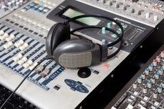Headphones On Music Mixer In Recording Studio Royalty Free Stock Image