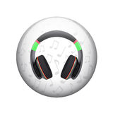 Headphones with music notes Stock Photography
