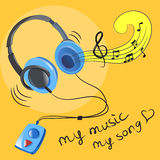 Headphones and music notes Stock Photo