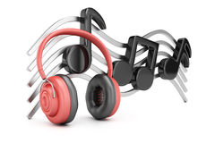 Headphones and music notes Royalty Free Stock Images