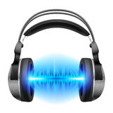 Headphones with music playing. Headphones with blue sound waves. Illustration on white background stock illustration
