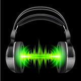 Headphones with music playing Royalty Free Stock Image
