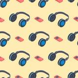 Headphones music sound stereo dj seamless pattern studio audio modern earphone background vector illustration Royalty Free Stock Photo