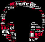 Headphones music tagcloud. Headphones music tag cloud with red and white words on a black background vector illustration