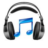 Headphones and musical note Stock Images