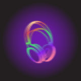 Headphones Neon light. DJ style Stock Images